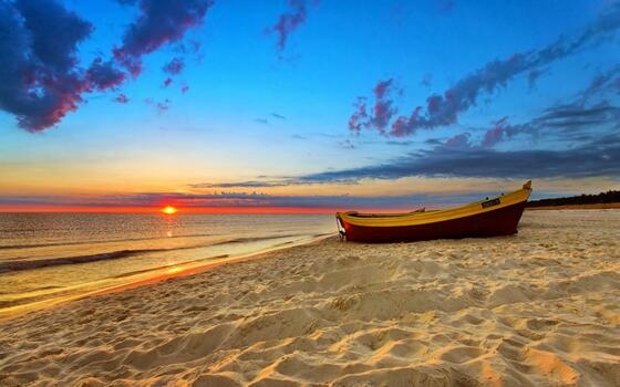 port dickson beach sunset boat on the coast