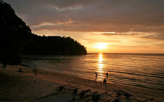 Beautiful Sunset at Blue Lagoon Beach Port Dickson