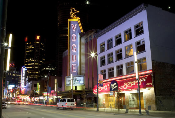 night life, granville street, live music, clubs, retail stores,