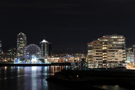 Night lights, Waterfront views, Science world