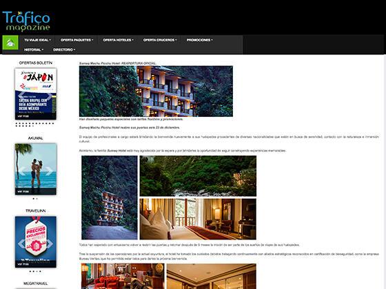 Article image published on Traffic Magazine about Hotel Sumaq