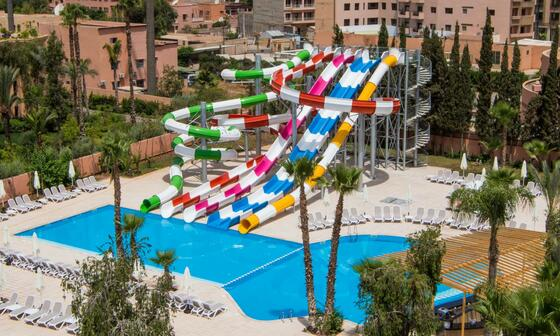 Pool With Water Slides At Resort In Morroco