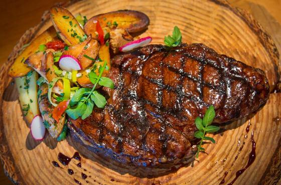 A steak dish served at Alderbrook Resort & Spa
