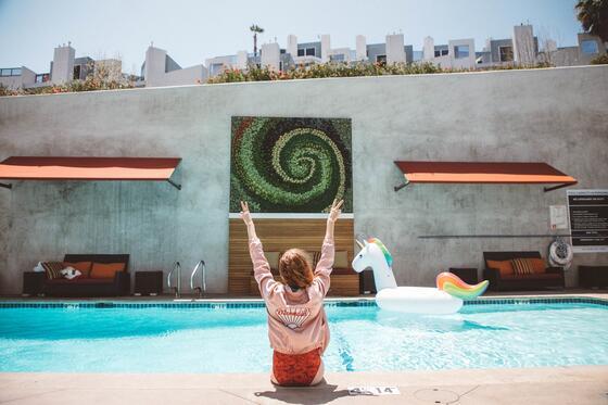 Women enjoying time at pool Area at Hotel Angeleno