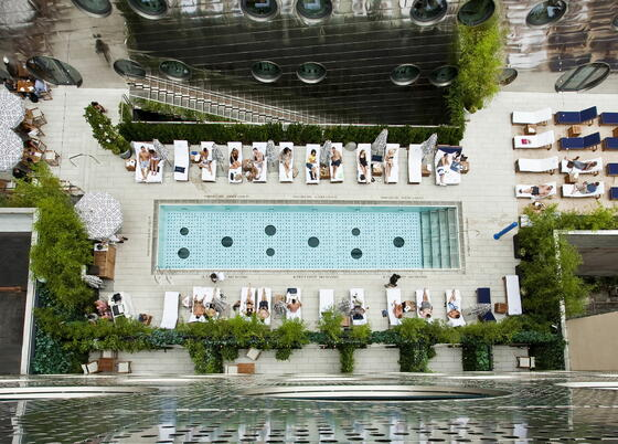 Pool area drone camera view at Dream Downtown NYC