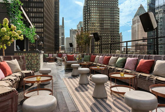 PHD Midtown terrace seating area  at Dream Mid Town NYC.