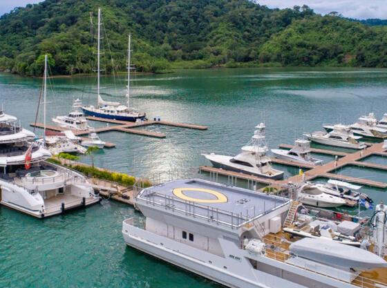 Vessel boat at the main dock near Marina Bahia Golfito