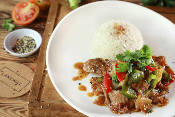 View of stewed meat with rice at Peppers Seminyak