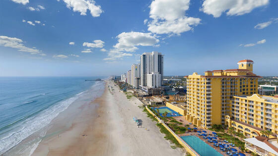 Aerial view of Daytona Beach and The Plaza Resort & Spa