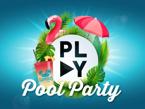 Play Pool Party banner at Clevelander South Beach hotel