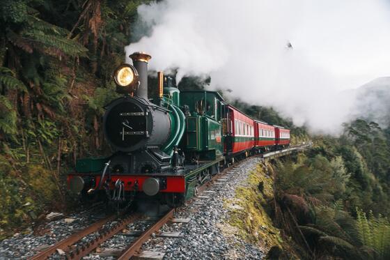 Train at West Coast Wilderness Railway near Strahan Village