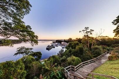 Harbor view from Strahan Village near Gordon River Cruises