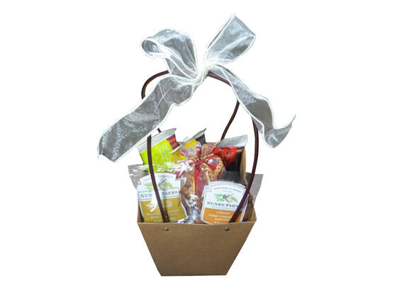 A small basket containing an assortment of snacks.