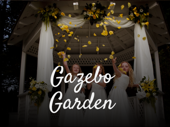 Image of flower girls in Gazebo with text