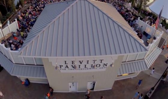 aerial view of levitt pavillion