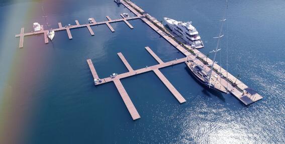 Aerial view of the Main Dock near Marina Bahia Golfito Hotel