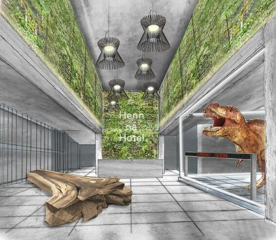 Hotel lobby rendering with TRex, foilage, and tree trunk bench.