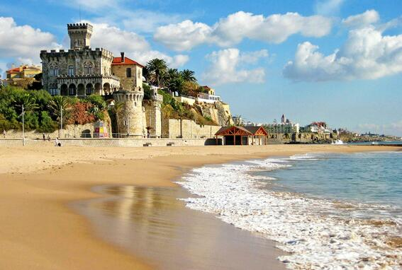 View of hotel from seashore at  Hotel Cascais Miragem