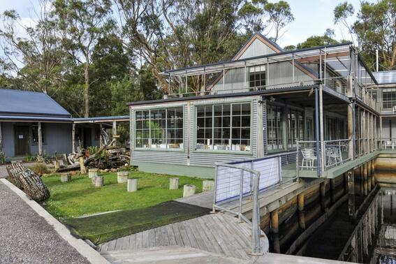 Exterior view of Risby cove at Gordon River Cruises