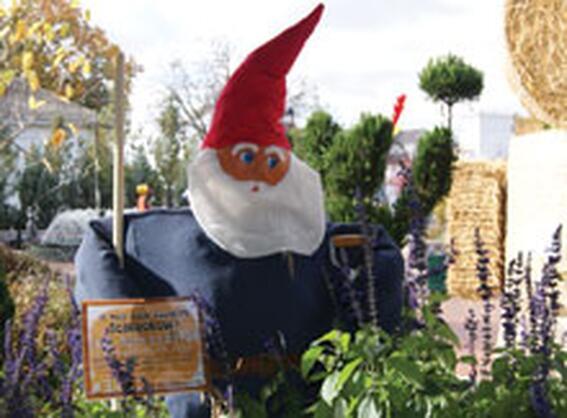 Santa Claus statue view in Scarecrow Fest at Marv Herzog Hotel