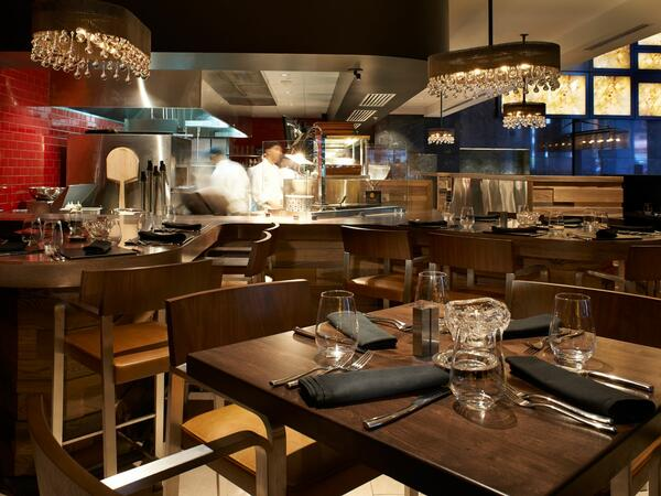 Wide shot of the interior of the kitchen at Adega Restaurant