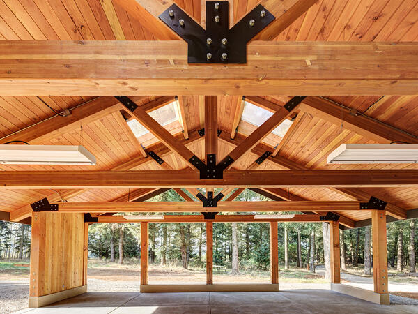 Beautiful wooden pavilion in forest