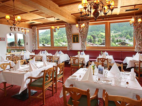 Restaurant at Tiefenbrunner Hotel in Kitzbühel, Austria