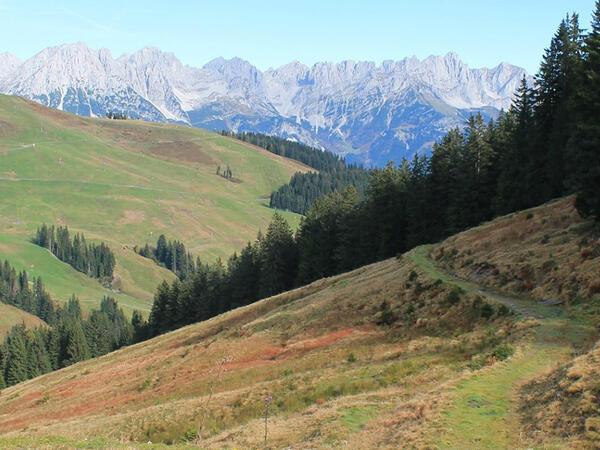 Mountain view from Tiefenbrunner Hotel in Kitzbühel, Austria