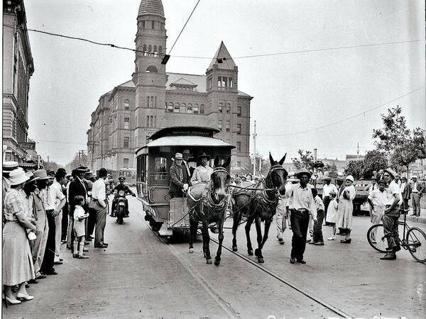 Vintage photo of San Antonio trolley