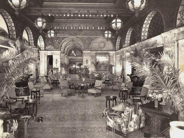 Historical BW Photo of Congress Plaza Lobby