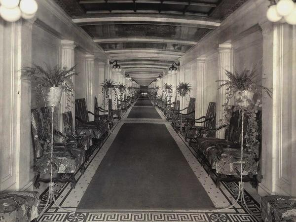 Historical BW Photo of Congress Plaza Hallway