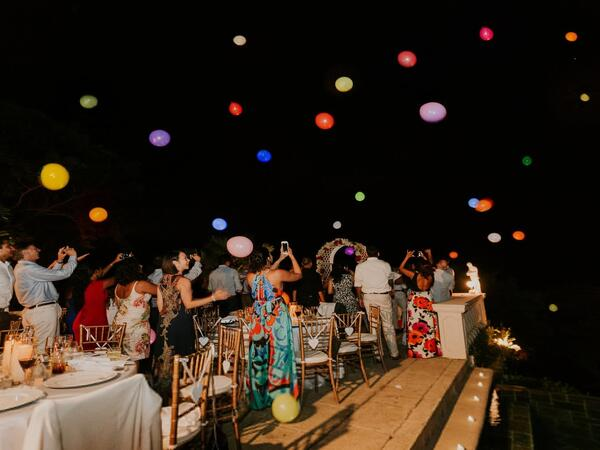 Nighttime wedding reception party in Tobago