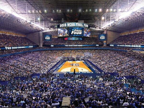 Full stadium at Alamo Dome for Final Four basketball tournament