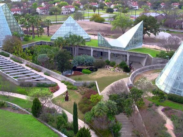 Aerial view of botanical gardens