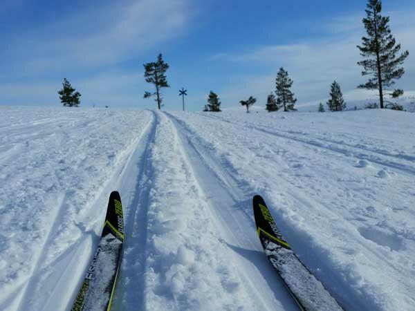 Skiing near Northern Lights Village in Saariselkä, Lapland