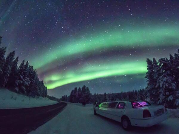 Limousine at Northern Lights Village in Saariselkä, Lapland