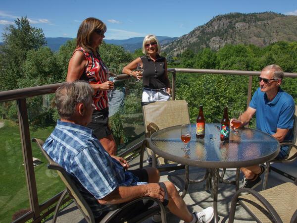 Family Having Drinks outside