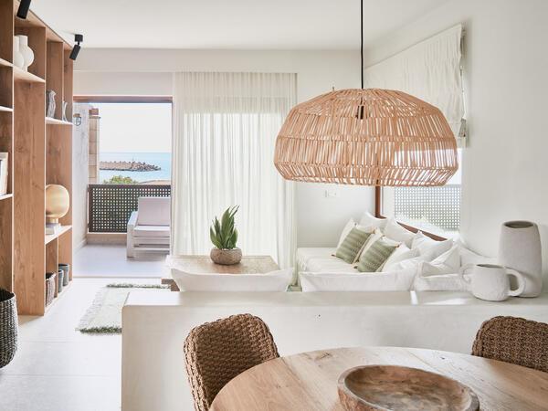 Bedroom of Deluxe Suite at Cretan Malia Park resort, Crete