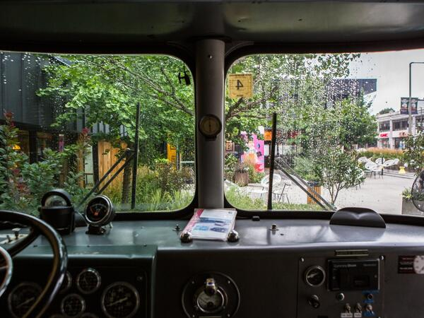 View out the front windows of The Verb Bus