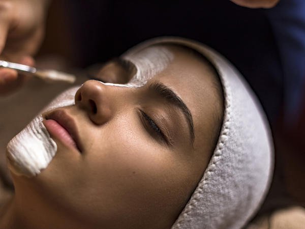 Woman getting a facial
