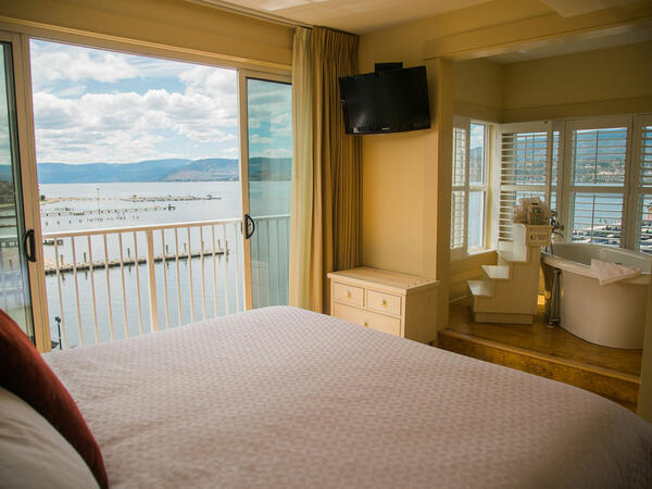 Hotel room with lake view.