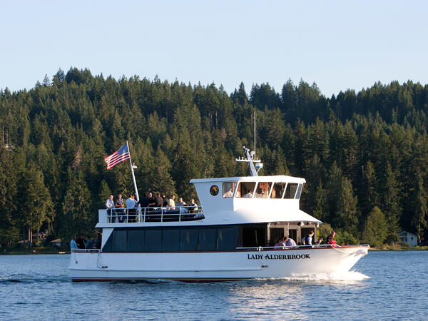 Caven boat on canal at Alderbrook Resort & Spa