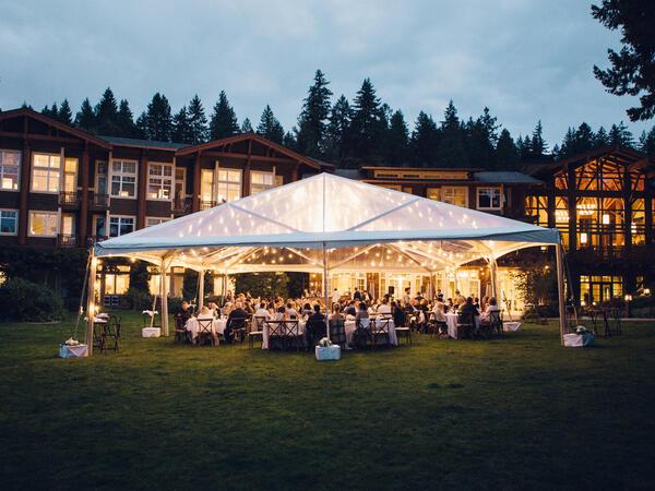 Outdoor wedding reception at Alderbrook Resort & Spa