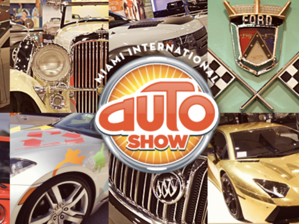 collection of vintage cars  for the Miami international