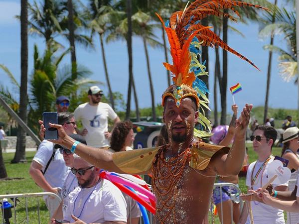A man celebrating Miami pride