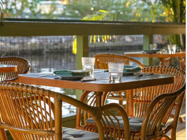 Ambient exterior/Interior of  restaurant showing tables and seat