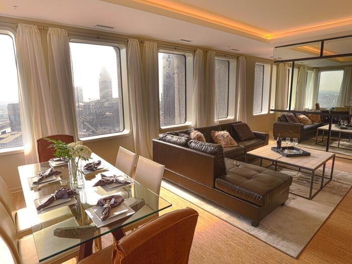 Photo of the expansive interior of a Sky Suite