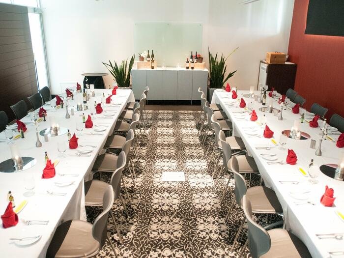 Elegant private meeting room with long tables