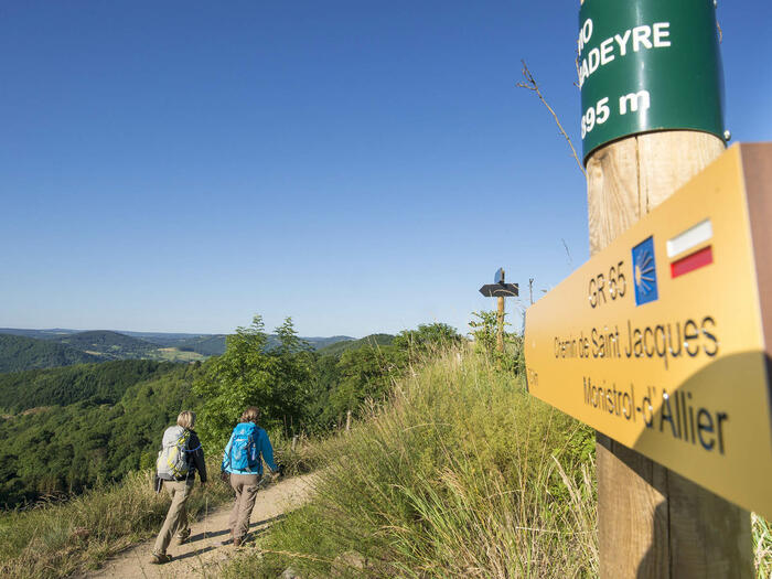 Two people hiking in the trail of Santiago De Compostela