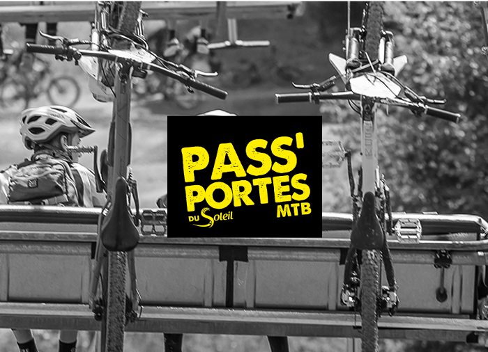 Logo Pass' Portes du Soleil MTB avec fond remontées mécaniques